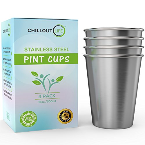 Stainless Steel Pint Cups Water Tumblers 16 oz - Unbreakable, BPA Free, Stackable Premium Quality 18/18 Metal Drinking glasses for Home & Outdoor Activities, Picnic, Travel & Camping (4-Pack) -