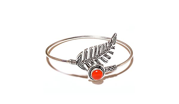 Red Coral Sterling Silver Overlay 15 Grams Bangle//Bracelet Free Size Gift Jewelry