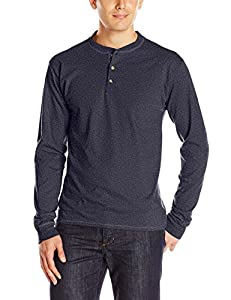 Hanes Men's Long-Sleeve Beefy Henley T-Shirt - Large - Hanes Navy Heather