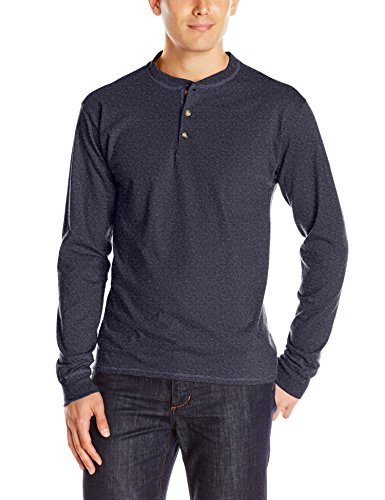 (Hanes Men's Long-Sleeve Beefy Henley T-Shirt - X-Large - Hanes Navy Heather)
