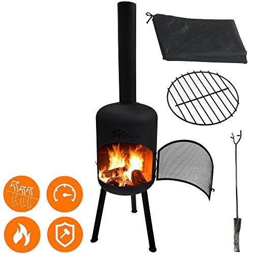Photo Chiminea Fire Pit Wood Burning Set - 65 Inch Height Robust Thick Steel - Spark Screen Cover, Stick Grid, Fireplace Poker, Wood Grate, Waterproof Rain Cover Protector - for Patio Outdoor Backyard