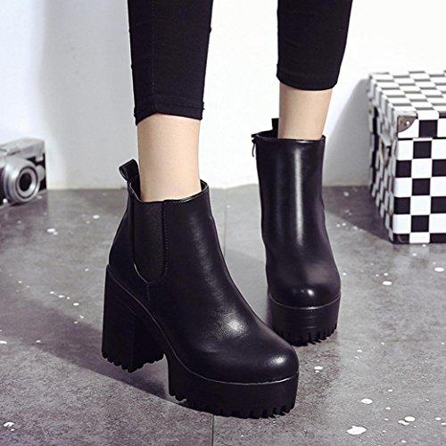 Zapatos Otoño Corto Mujer Botines Plataformas Talón Lmmvp Moda Invierno De  Grueso Negro Botas Cuero Vendimia Ankle Cuadrado ATr0qAWzw 2696465195896