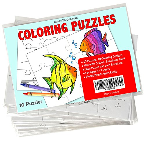 Jigsaw2order Kids Coloring 12pc Blank Puzzle, Pack of 10, size 5.5