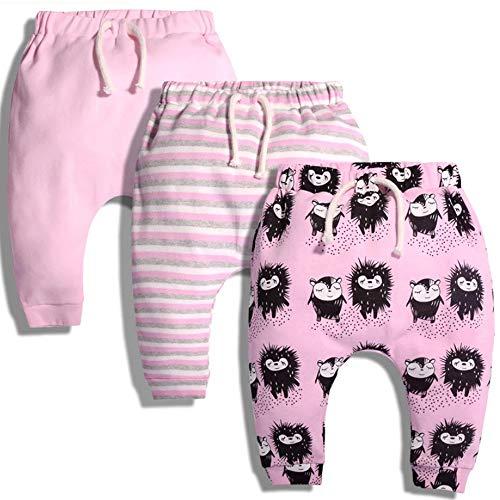 Baby Girls Pants Set Newborn Infant Kids Toddler Cotton Hiphop Harem Pants Sport Jogger 3 Pack