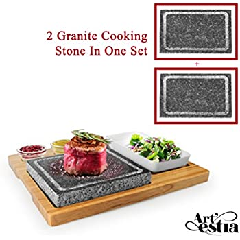 Artestia DOUBLE STONES Sizzling Hot Stone Set With Stainless Steel Tray,  Bamboo Platter And Ceramic