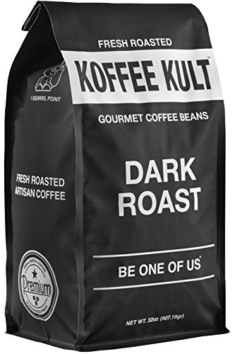 Koffee Kult Dark Roast Coffee Beans - Highest Quality Gourmet - Whole Bean Coffee - Fresh Roasted Coffee Beans, 32oz (Roasted Beans Coffee Gourmet)
