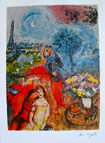 Art by Marc Chagall Eiffel Tower Serenade Limited Edition Signed Lithograph Print. After the Original Painting or Drawing. Measures 35 Inches X 24½. Printed On Thick High Quality Arches Paper ()