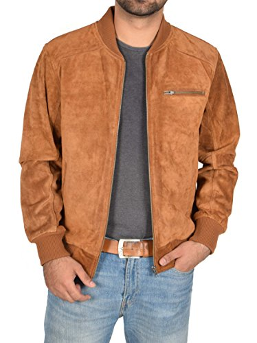 (Mens Real TAN Suede Bomber Jacket Leather Varsity Baseball Casual Coat - Roco (X-Large))