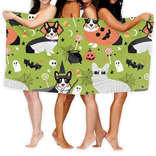 Tri-Colored Corgi Halloween Costumes Mummy Vampire Ghost Just Dog Light Green_25319 100% Polyester Beach Towel Chair (31