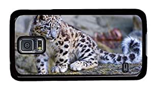 Hipster leather Samsung Galaxy S5 Cases snow leopard cub PC Black for Samsung S5