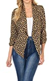Auliné Collection Womens 3/4 Sleeve Casual Work Lined Open Front Cardigan Blazer Leopard Medium