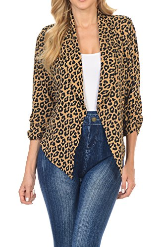 Auliné Collection Womens 3/4 Sleeve Casual Work Lined Open Front Cardigan Blazer Leopard Large (Leopard Jacket Print)