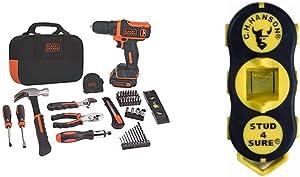 BLACK+DECKER 12V MAX Drill & Home Tool Kit, 60-Piece (BDCDD12PK) & CH Hanson 03040 Magnetic Stud Finder