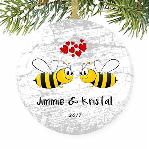 Honey Bumble Bees Christmas Tree Ornament - Anniversary Keepsake Tile