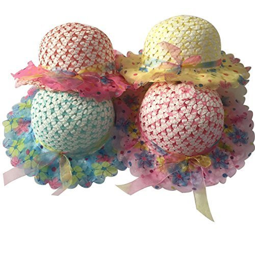 Girls Sunflower Straw Tea Party Hat Set (8 Pcs, Assorted Colors)