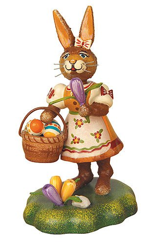 Small Figures & Ornaments Rabbit mother with crocus - 9cm / 3,5inch - Hubrig Volkskunst