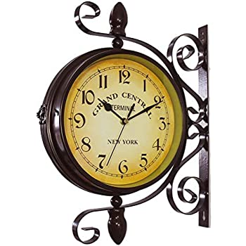 Amazon Com Homello Vintage Double Sided Wall Clock Iron