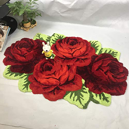 (Ustide Floor Rug Red Handmade Bathmat Floral Rug Girls Bedroom Rugs Washable Non-Slip Floor Carpets)