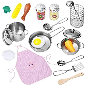 46PCS Kids Kitchen Play Toys – Pretend Play Cooking Kit with Electronic Induction Cooktop, Pots and Pans Playset…