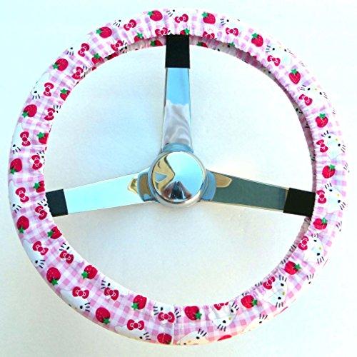 Mana Trading Handmade Steering Wheel Cover Hello Kitty Strawberry Plaid