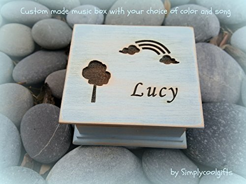 Music box, custom made music box, rainbow, wooden gift, flower girl gift, rainbow music box, personalized music box, blue, personalized gift, simplycoolgifts