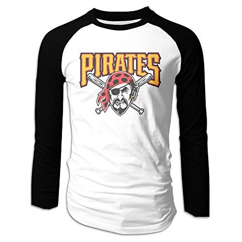 ACFUN Men's Fitted Long Sleeve Raglan Pittsburgh Baseball Team Logo Tshirts - Pittsburgh Shops Airport