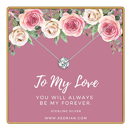 KEDRIAN to My Love Necklace, 925 Sterling Silver, Girlfriend Gifts for Women, Wife Gift, Gifts for Girlfriend, Love Necklace Pendant, Necklaces for Girlfriend, Mothers Day, Wife Birthday Gift Ideas