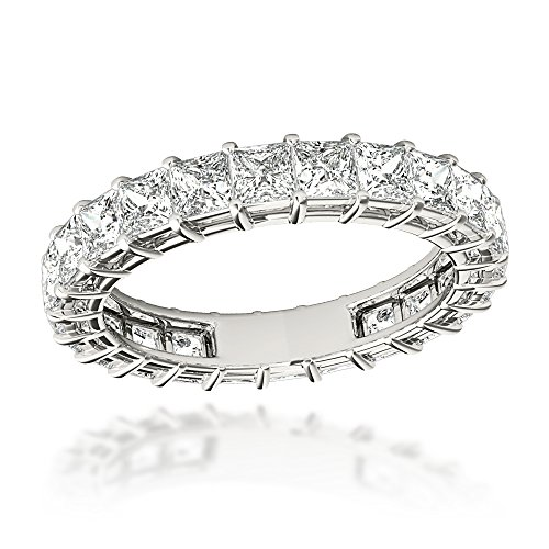 18K Gold Princess Cut Diamond Eternity Band Ladies Anniversary Rings 3ctw G-H color (White, Size 6.5)