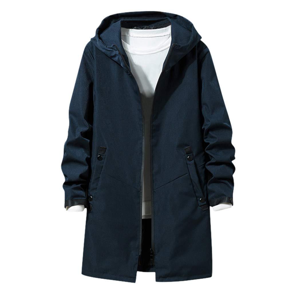 Fitfulvan Men's Casual Tooling Jacket Hooded Long Coat Zip Up Loose Windbreaker Dark Blue