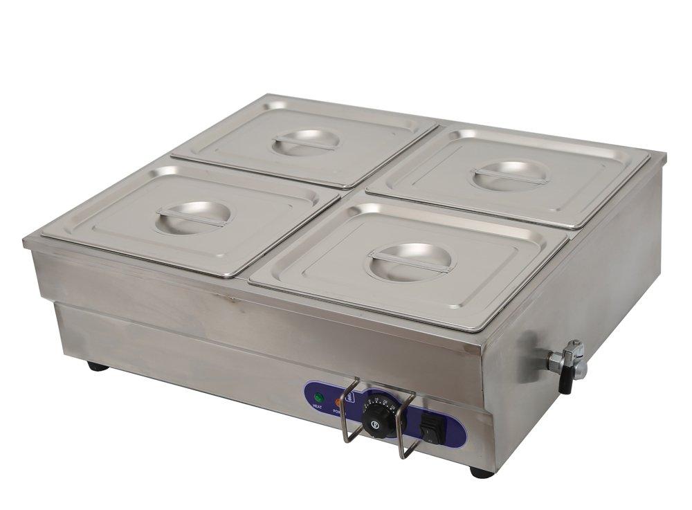 Techtongda 4-Pan Counter Top Warmer Bain-Marie Buffet Food Warmer 110V 1500W