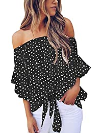 Womens Vintage Polka Dot Printed Off The Shoulder Tops 3/4 Sleeve Tie Knot Shirt Chiffon Bloues