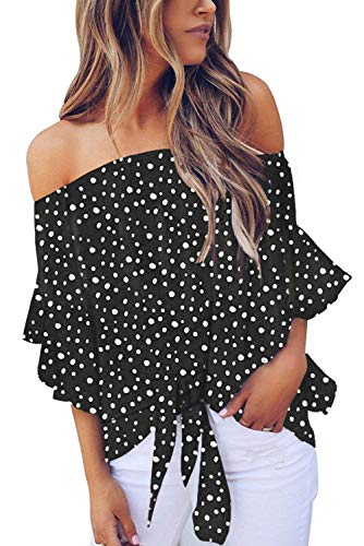 Asvivid Womens Boho Polka Dot Printed Summer Off The Shoulder Tops Bell Sleeve Tie Knot Tunic Shirt Plus Size 1X Black (Shirts And Tops)