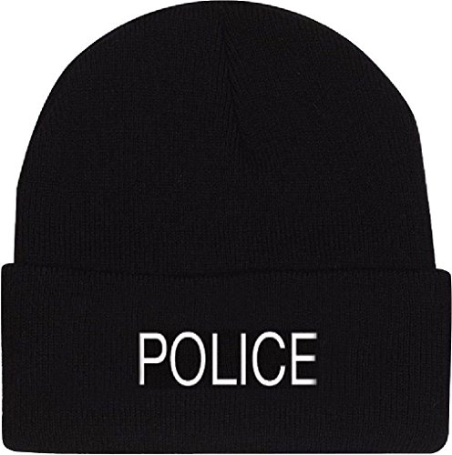 Black Acrylic Embroidered Police Watch Cap