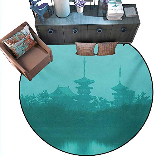 Asian Round Rug Kid Carpet Various Temples Above The Sea Tank in Fog Symbolic Faith Custom Pagoda Monochrome Circle Rugs Living Room (63
