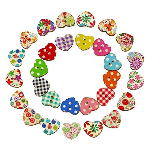 iuchoice ❤️❤️ 100 Multicolor Heart Shape 2 Holes Wood Sewing Buttons Scrapbooking Knopf Bouton Button Bear Wall Border
