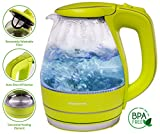 Ovente 1.5L BPA-Free Glass Electric Kettle Fast Boil Cordless Green
