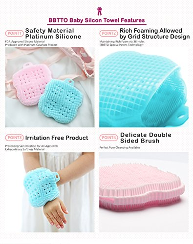 Foam Rub Microwave or Boil Water Sterilizing Pink InfantCo Anti-bacterial FDA-approved Ultra Soft Baby Bath Silicone Scrubber Sponge