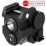 Aurora Tactical Red Laser Sight with Mini Sub Compact Rail Mount High Lumen CREE LED Flashlight Light Integrated Combo with Strobe for Pistol Rifle Handgun Gun (Black, 1 Pack)