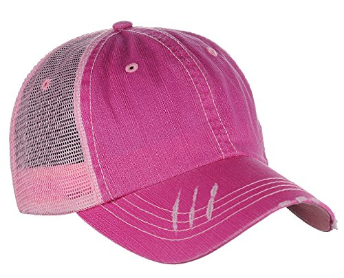 Cap Distressed Hat Trucker (MG Low Profile Special Cotton Mesh Cap-Fuchsia)