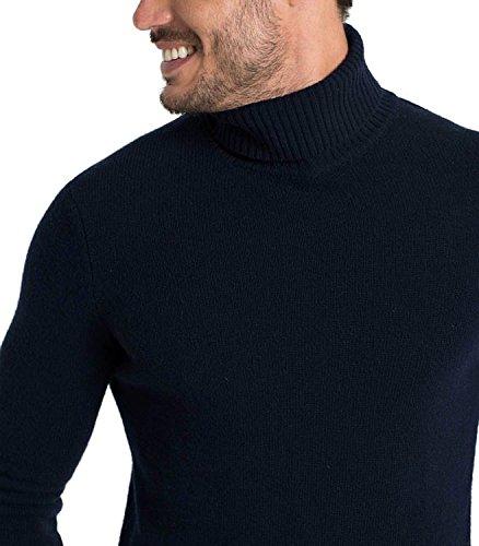 WoolOvers Rollkragenpullover aus Lammwolle für Herren Navy, S