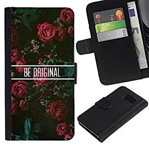 KingStore / Leather Etui en cuir / Samsung Galaxy S6 / Roses Floral de motivation
