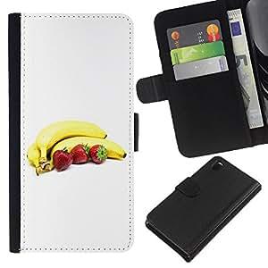 All Phone Most Case / Oferta Especial Cáscara Funda de cuero Monedero Cubierta de proteccion Caso / Wallet Case for Sony Xperia Z3 D6603 // Bananas and strawberries