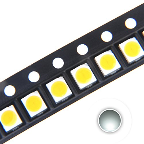 (Chanzon 100 pcs 3528 (1210) White SMD LED Diode Lights Chips (Surface Mount PLCC 3.5mmx2.8mm DC 3V 20mA 7-8LM) High Intensity Bright Lighting Bulb Lamps Electronics Components Light Emitting Diodes)