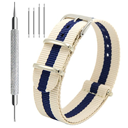 Nato Strap 4 Packs - 20mm 22mm Premium Ballistic Nylon Watch Bands Zulu Style with Stainless Steel Buckle (Black+Navy Red+Linen Navy+Navy White, 20mm) Photo #6