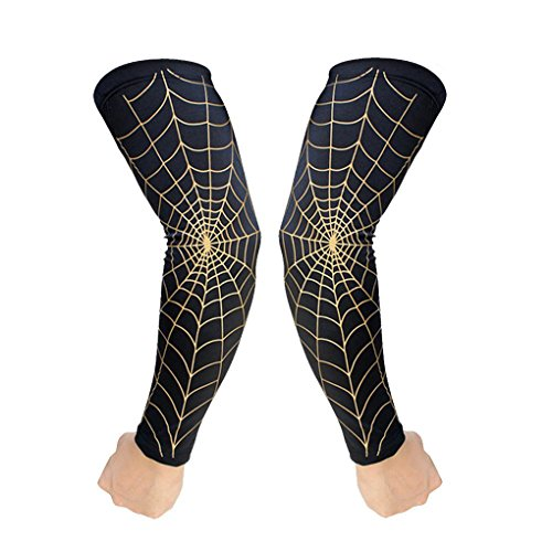 FakeFace 2 PCS Spider Web Arm Sleeves Compression Basketball Shooter Sleeve Long Arm Elbow Guard Protector Pads Support Brace for Running Baseball Volleyball Cycling Arm Warmer Sun UV Cool Protection