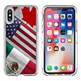 MSD Apple iPhone X Clear case Soft TPU Rubber Silicone Bumper Snap Cases iPhoneX IMAGE ID 32559273 Close up of the flags of the North American Free Trade Agreement NAFTA members on textile t