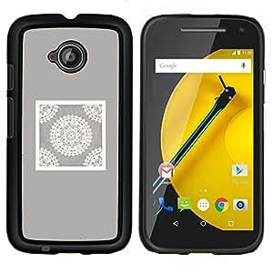 LECELL--Funda protectora / Cubierta / Piel For Motorola Moto E2 E2nd Gen -- Artesanía Arte Dibujo Blanca --