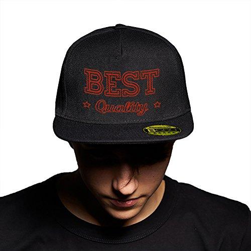 Best Quality Black Black Cap Original Gorra Snapback Unisex, Ajustable, con Visera Plana y Logotipo Urbano Bordado.
