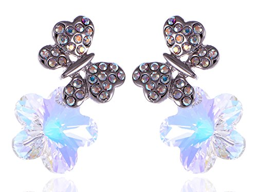 Alilang Swarovski Crystal Element Silver Tone Aurora Borealis Colored Butterfly Flower Stud Earrings