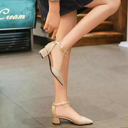 MUMA Zapatos de tacón Sandalias Aotou Mujer Verano 2018 Nueva versión coreana de la palabra Hebilla con tacones gruesos Boca baja con la punta de la boda Zapatos de gran tamaño de plata de oro ( Color Oro